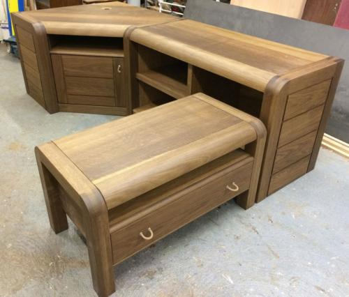 Oak modular cabinets before delivery