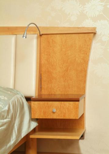 Maple and Black Walnut Headboard and Bedside Drawers